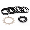 Set Single Speed MSC piño Acero Negro (Diferentes dentados)