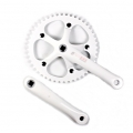 Bielas Mighty Fixie Paseo 165mm Cuadradillo + Plato 46 Dientes Color Blanco