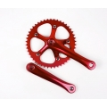 Bielas Mighty Fixie Paseo 165mm Cuadradillo + Plato 46 Dientes Color Rojo