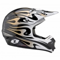 Casco Integral One Industries Kombat Flames-Negro / Dorado