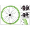 "Fixie Rear Wheel 700"" Origin 8 Green lighter-sealed hub (32 spokes)"