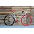 Fixie Bike White Red Track
