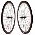 "Pair Fixie FK Wheels Black Matte 700"" with brake-side"