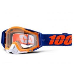 Máscara 100% RACECRAFT Derestricted Azul Naranja (Lente Transparente)