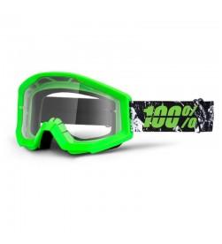 Máscara 100% Strata Crafty Lime (Lente Transparente) Verde Fluorescente