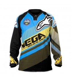 Camiseta Equipación DH Alpinestars Replica Team UCC Megavalanche Cyan/Negra/Amarilla