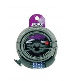 Candado espiral 150cm c/soporte y combinacion