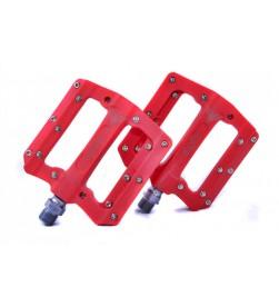 Pedales Plataforma El Gallo Components Fixation Nylon Rojo