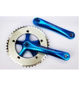 Bielas Prowheel Urban Fixie Paseo 165mm Cuadradillo + Plato 46 Dientes Color Azul