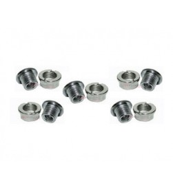 Kit 5 tornillos + 5 hembras plato Ice R-Bolt 6.5mm Acero Plata