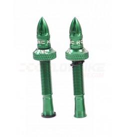Par de válvulas tubeless KCNC aluminio mecanizado 44mm Verdes