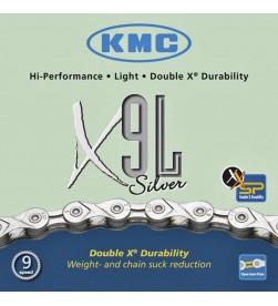 Cadena KMC X9L Silver 9v. - 6,6mm - 116 eslabones