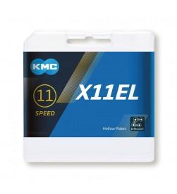 Cadena KMC X11EL Blacktech Negra 118eslabones 11v.