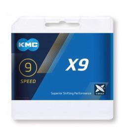 Cadena KMC X9 Plata/Gris 9v 116 eslabones