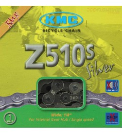 Cadena KMC Z510S Silver BMX color plata para 1 velocidad