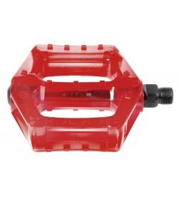 """Pedales M-Wave BMX Plastico eje cromo 9/16"""" Rojo"""