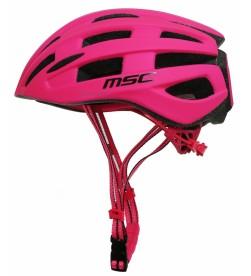 Casco Carretera MSC Bikes inmold Rosa con Luz