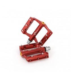 Pedales plataforma MSC aluminio Rojo anodizado
