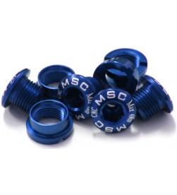Tornillos Plato Aluminio MSC 4 tornillos + 4 tuercas M8x5.5/6.5 Azul