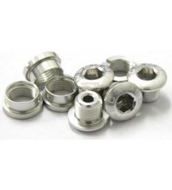 Tornillos Plato Aluminio MSC 4 tornillos + 4 tuercas M8x5.5/6.5 Plata