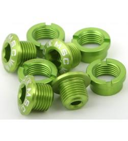 Tornillos Plato Aluminio MSC 4 tornillos + 4 tuercas M8x5.5/6.5 Verde