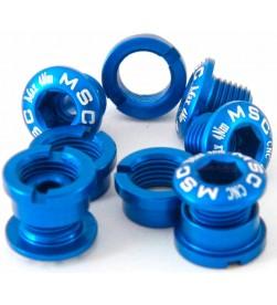 Tornillos Plato Aluminio MSC 5 tornillos + 5 tuercas M8x5.5/6.5 Azul