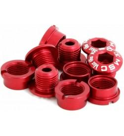 Tornillos Plato Aluminio MSC 5 tornillos + 5 tuercas M8x5.5/6.5 Rojo