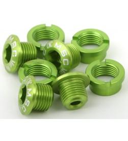 Tornillos Plato Aluminio MSC 5 tornillos + 5 tuercas M8x5.5/6.5 Verde