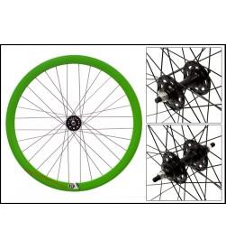 "Rueda Delantera Fixie 700"" Origin 8 Con perfil Verde/Negro (32 radios)"