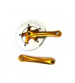 Bielas Prowheel Urban Fixie Paseo Cuadradillo 165mm + Plato 46 Dientes Color Dorado