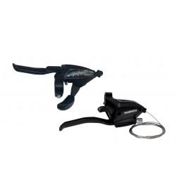 Mandos freno+cambio Shimano ST-EF500 V-brake 4 dedos 3x8v Negros