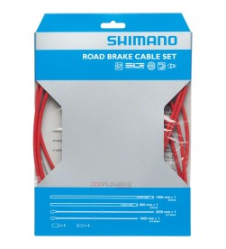 Set Cable y Funda Freno Shimano Carretera Rojo