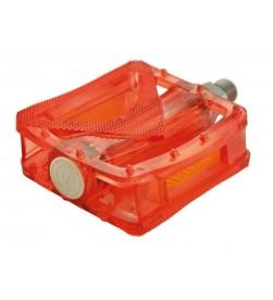Pedales Plataforma VP Components Rojo Transparente con Reflectante