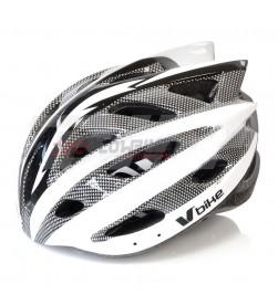 Casco V Bike MTB Blanco/Carbono/Plata Talla L (58-61cm)