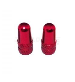 Par tapones valvula Presta/fina aluminio Rojo