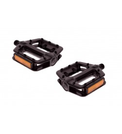 Pedales Plataforma FK280 Aluminio Negro con reflectantes