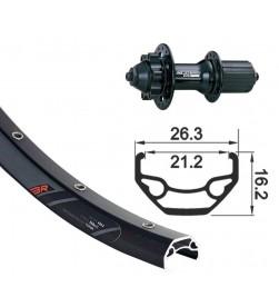 Rueda trasera XLC 26 con Aro Rodi 26mm negro y cierre rapido