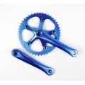 Bielas Mighty Fixie Paseo 165mm Cuadradillo + Plato 46 Dientes Color Azul