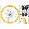 "Fixie Front Wheel 700 ""Origin 8 Yellow lighter-sealed hub (32 spokes)"